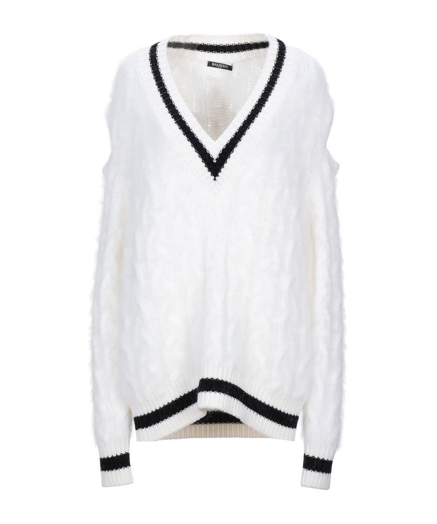Image for Balmain White Virgin Wool Cable Knit Jumper