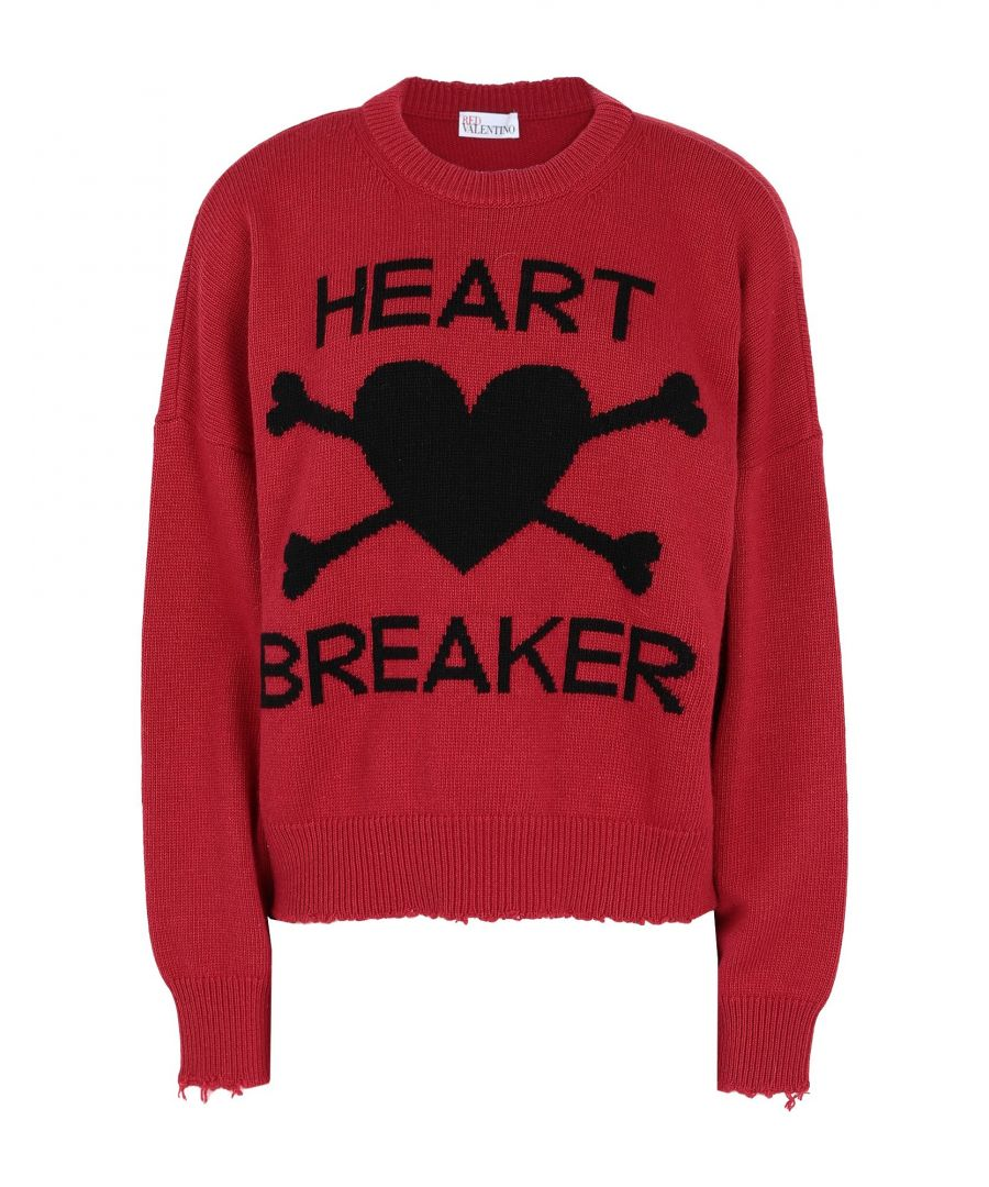 Image for Redvalentino Red Wool Knit Heart Breaker Jumper