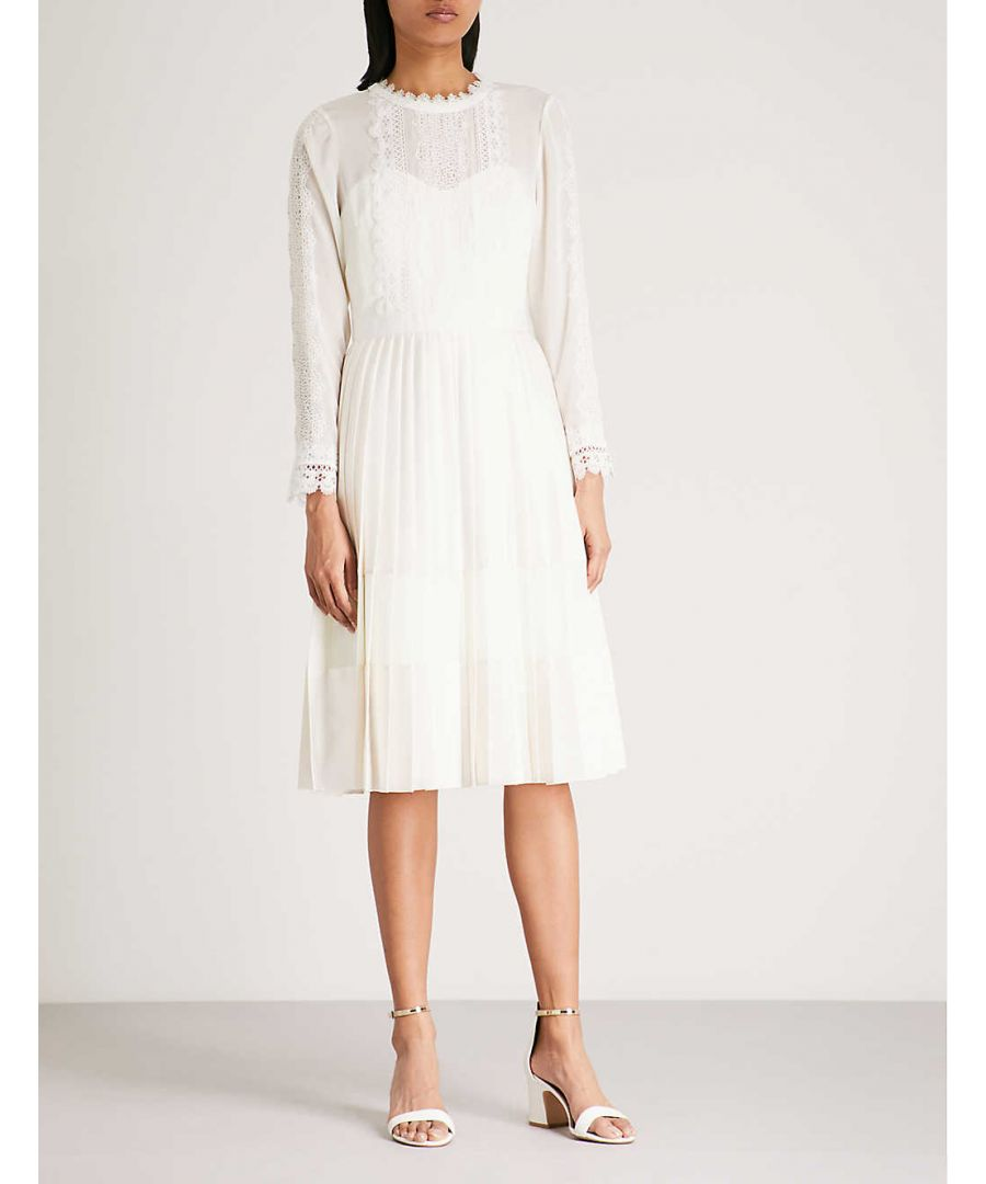 Image for Ted Baker Looez Lace Trim Pleated Midi Dress, Ivory