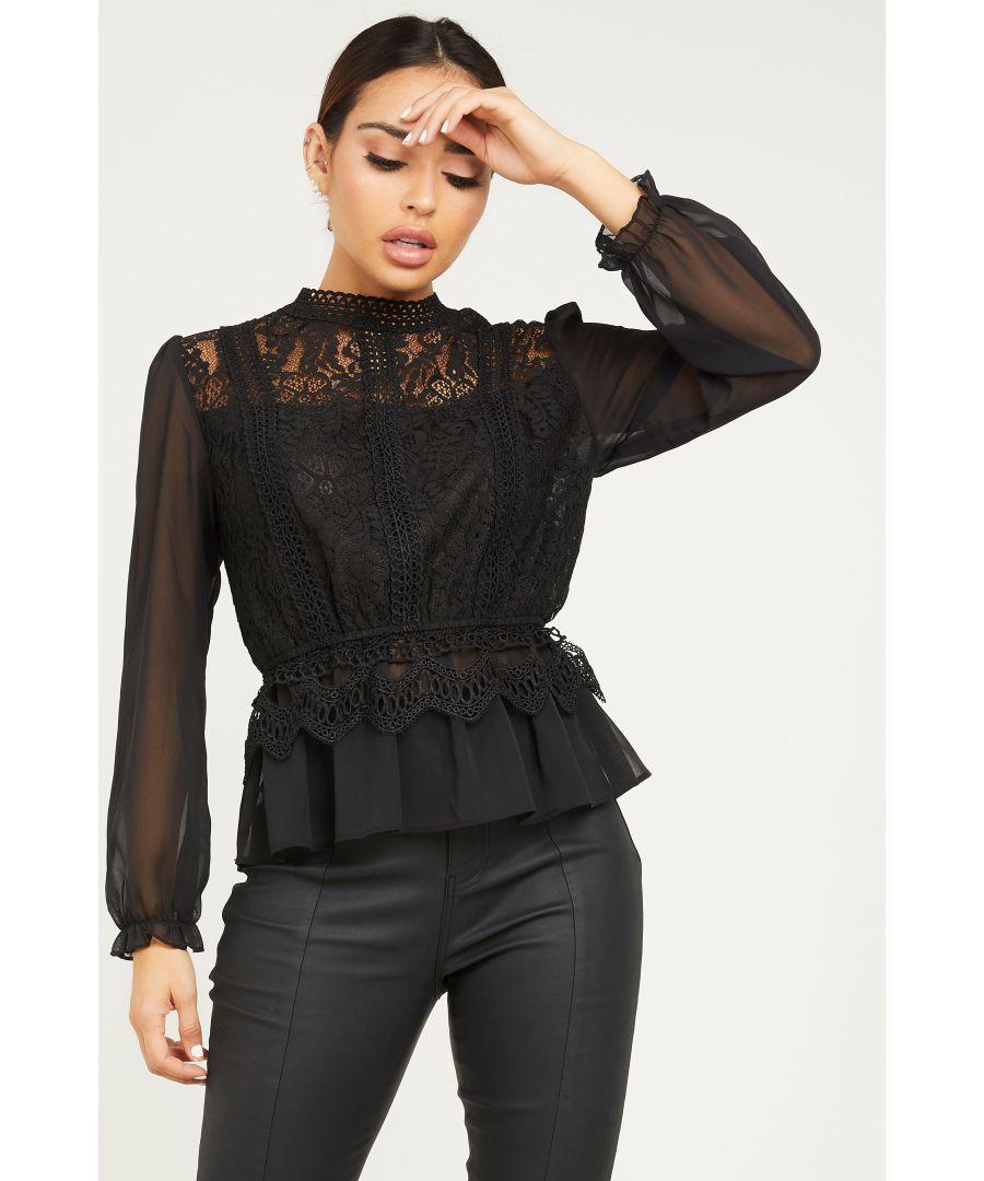 Image for Black Crochet Turtle Neck Peplum Top