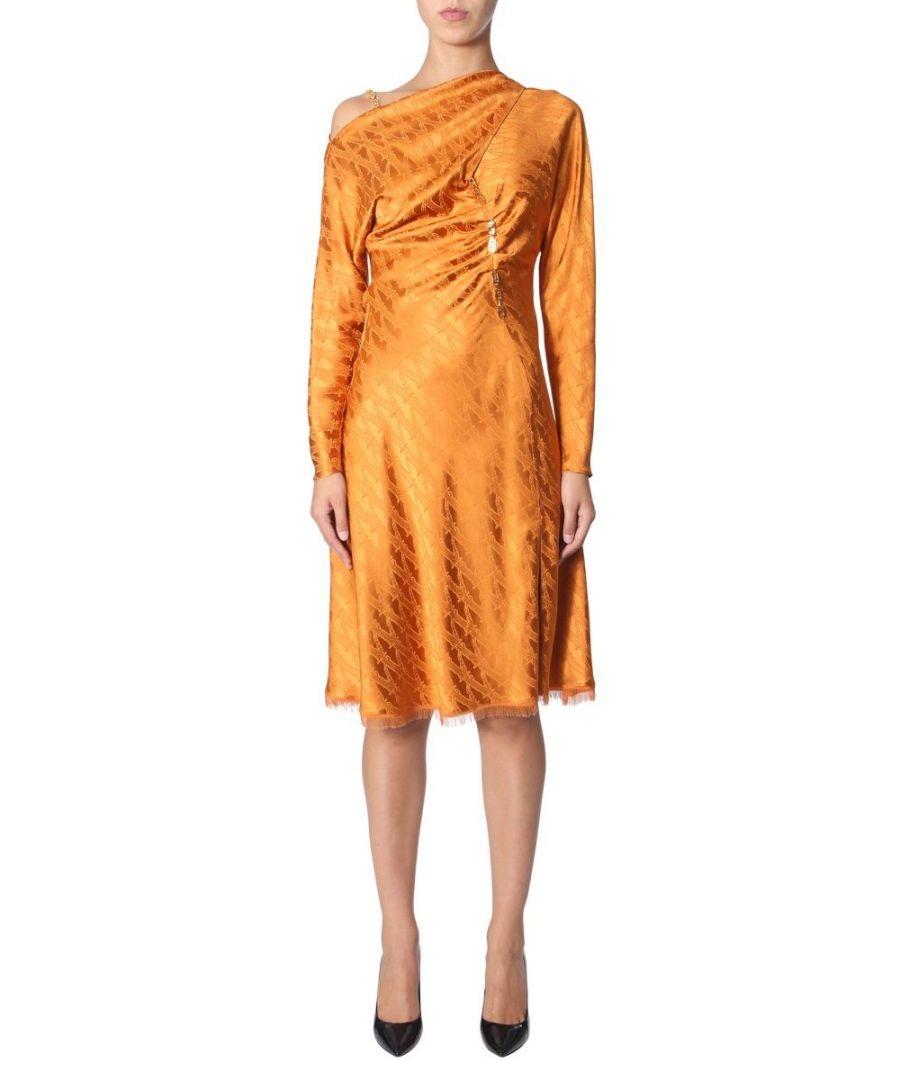 Image for VERSACE WOMEN'S A84604A231929A4167 ORANGE VISCOSE DRESS