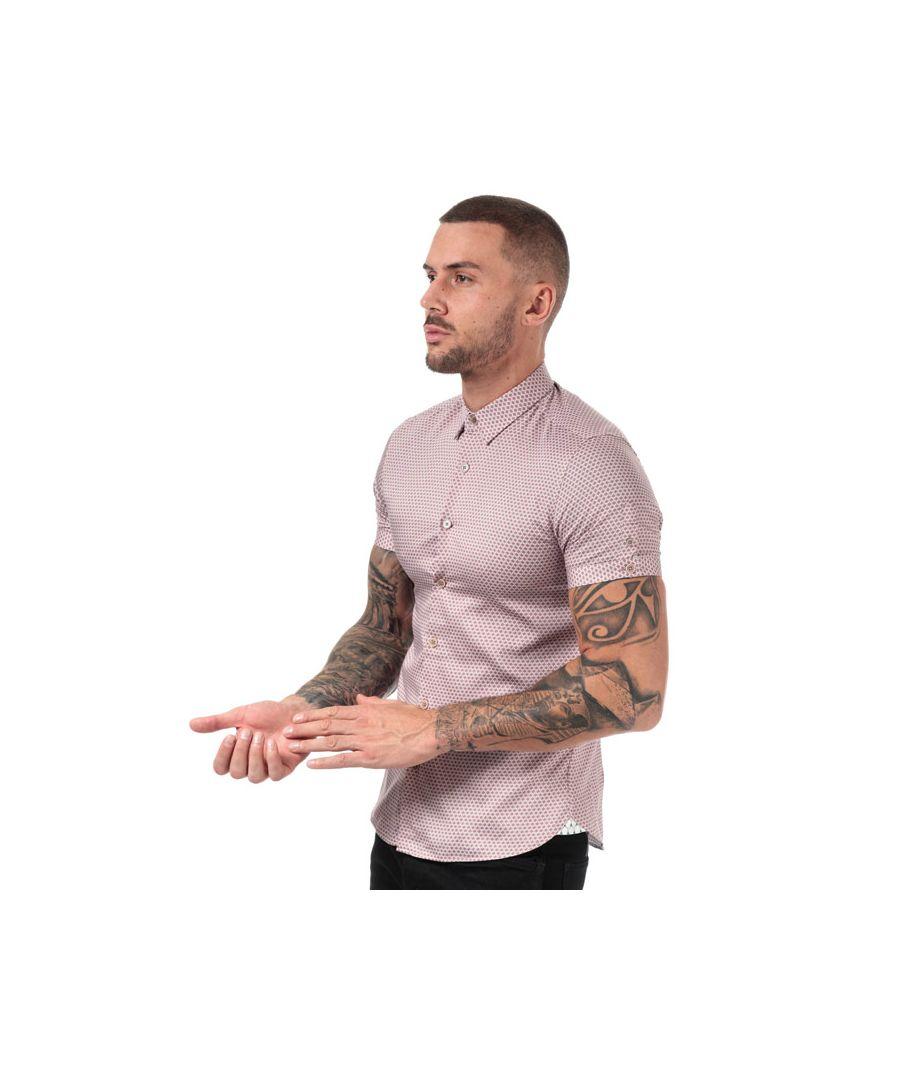 Image for Men's Ted Baker Gudvu Geo Print Cotton Shirt in Pink