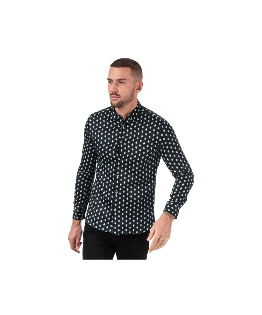 Image for Men's Ted Baker Mineral Geo Print Cotton Shirt in Navy