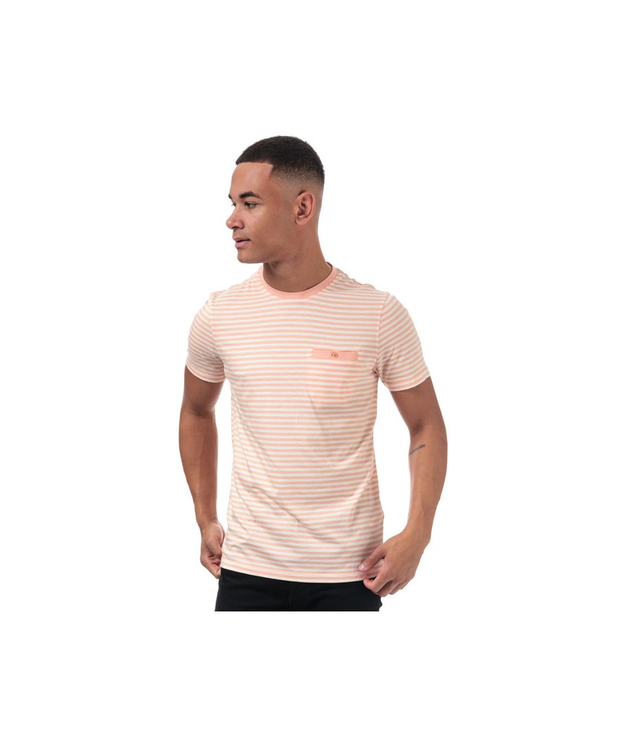 Image for Men's Ted Baker Russ Striped Cotton T-Shirt in Orange