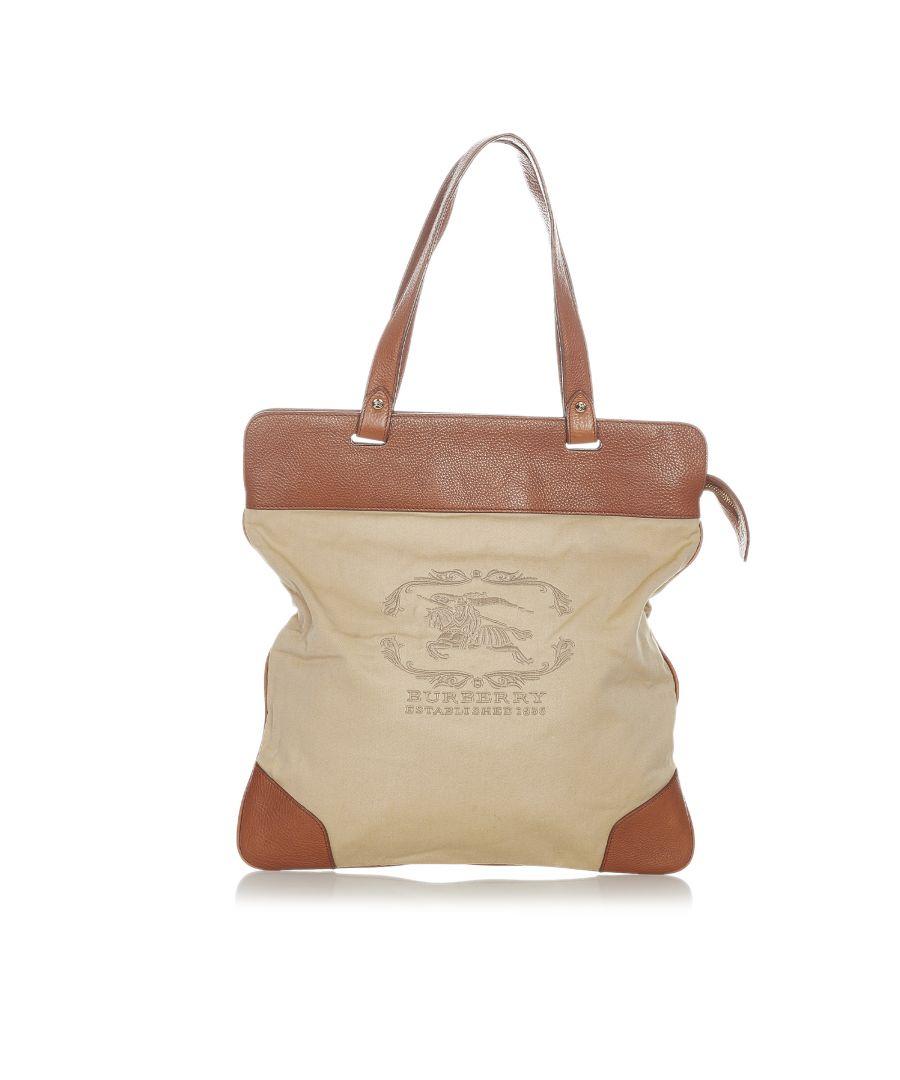 Image for Vintage Burberry Logo Canvas Tote Bag Brown
