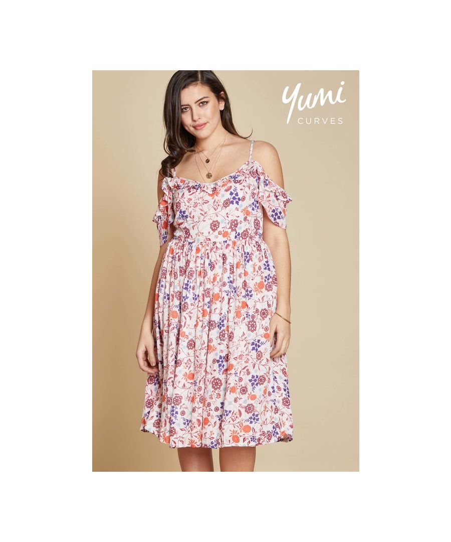 Image for Yumi Curves Swirl Flower Cold Shoulder Dress