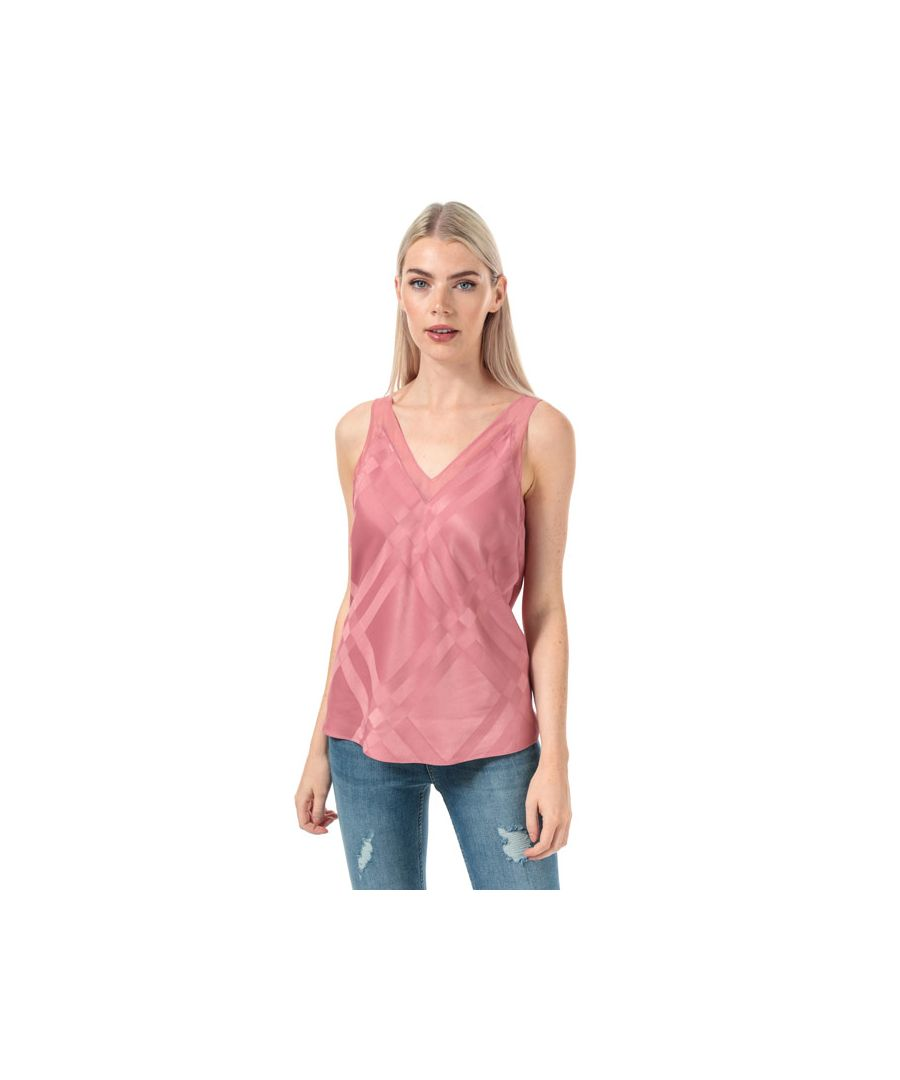 Image for Women's Ted Baker Elten V-Neck Check Detail Cami Top in Coral