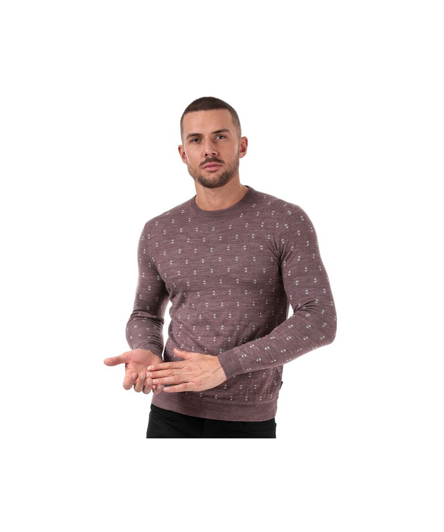 Image for Men's Ted Baker Talkoo Geo Knit Wool Jumper in Pink