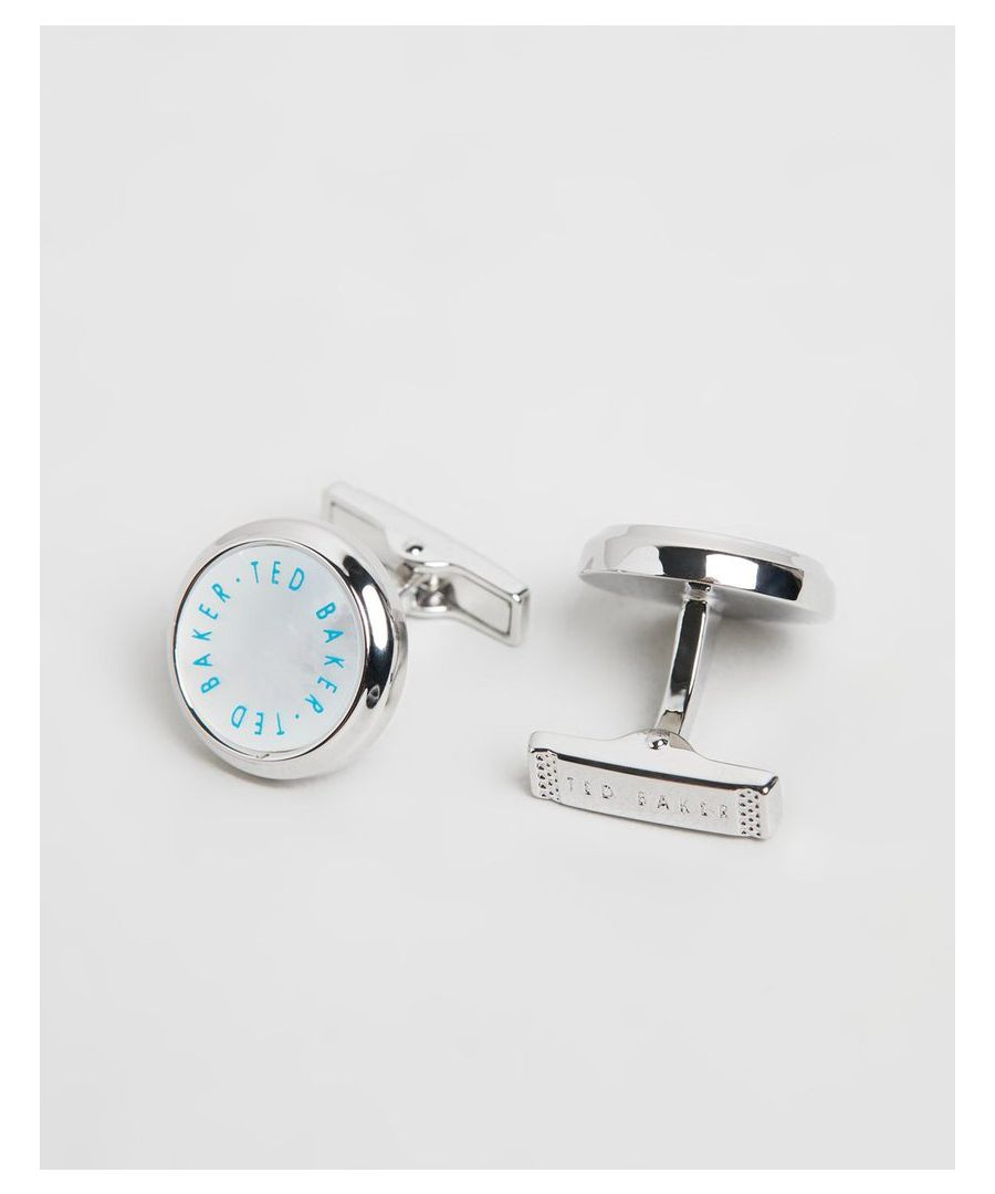 Image for Ted Baker Andra Printed Logo Cufflink, White