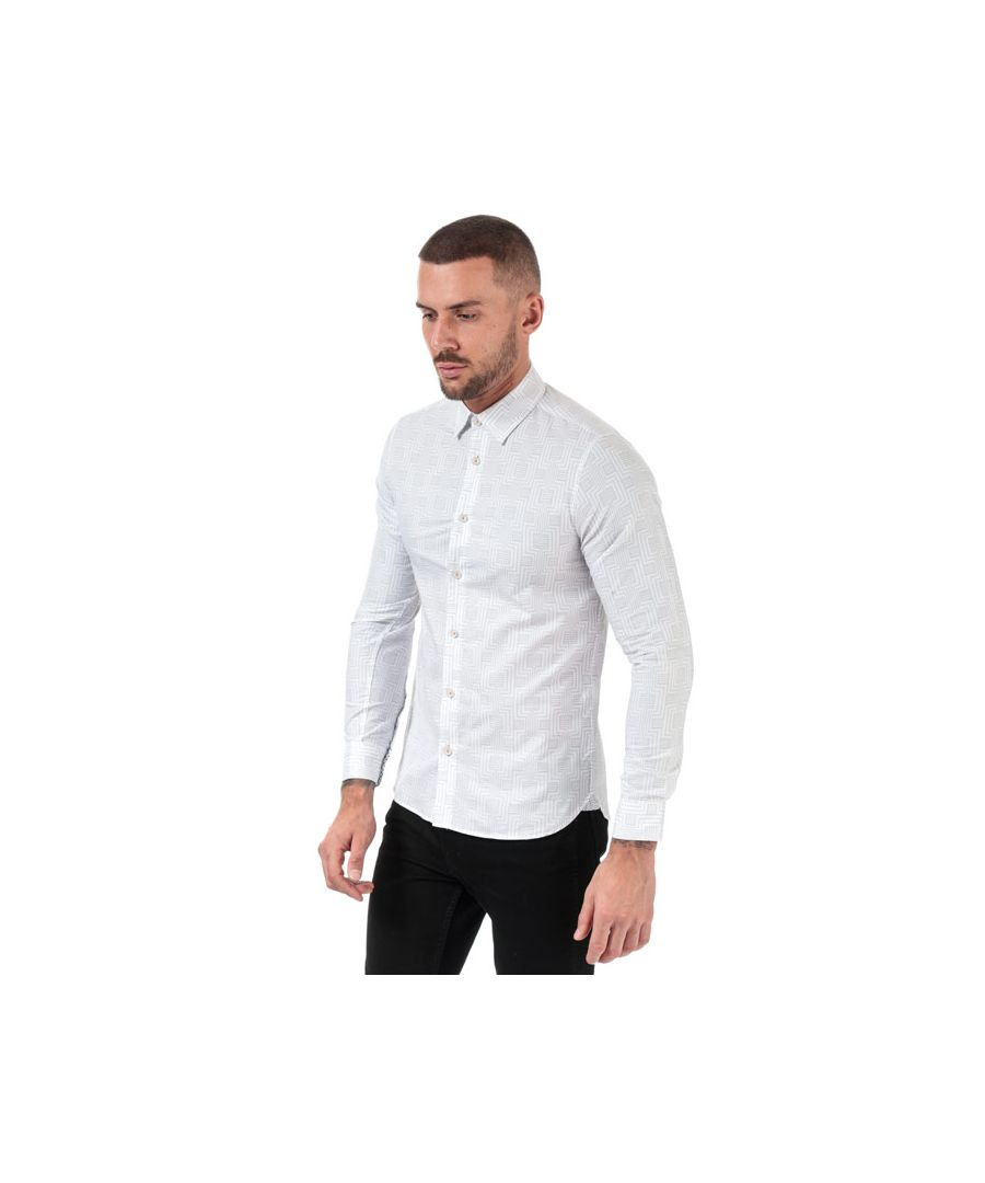 Image for Men's Ted Baker Canarry Deco Striped Cotton Shirt in White