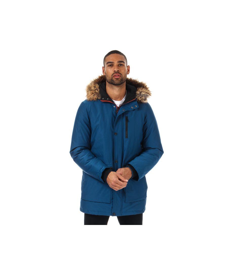 Image for Men's Ted Baker Gouda Faux Fur Hooded Parka Jacket in Blue
