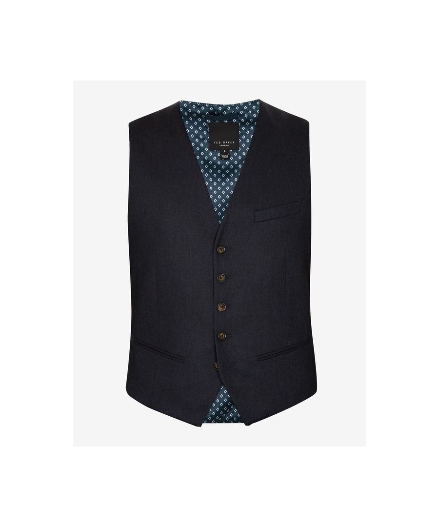 Image for Ted Baker Matwai Core Wool Waistcoat, Navy
