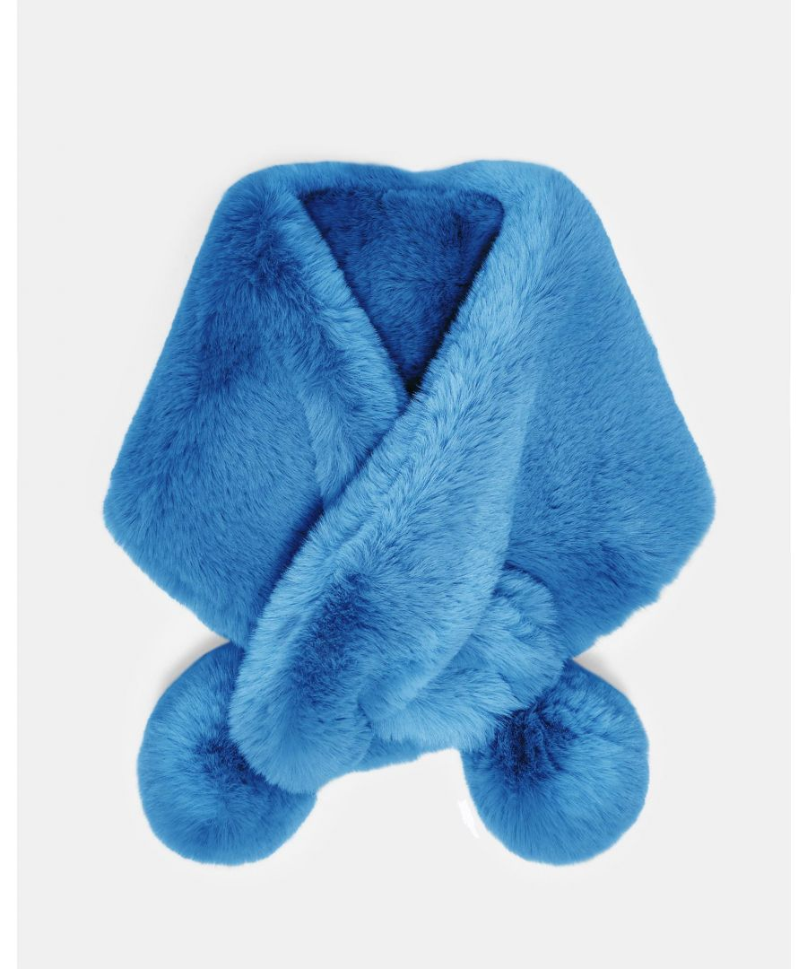 Image for Ted Baker Zalie Faux Fur Pom Pom Snood, Mid Blue