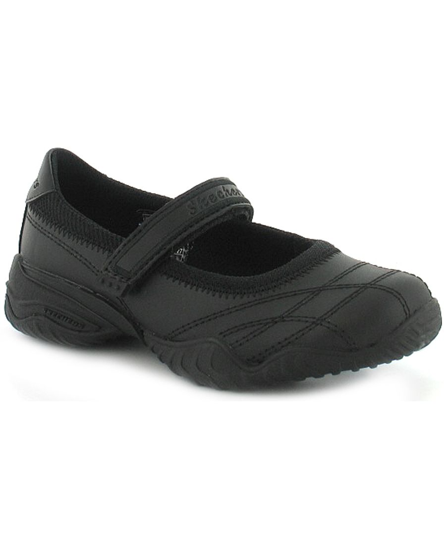 Image for New Girls Black Leather Skechers School Shoes With Touch Fastening