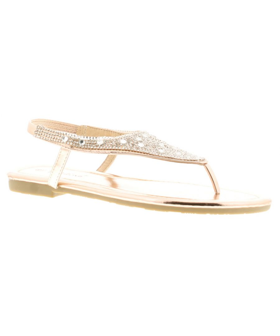Image for Ladies/Womens Diamante Toe Post Sandals This Sparkly Number Has An  Upper That Is Encrusted With Dia