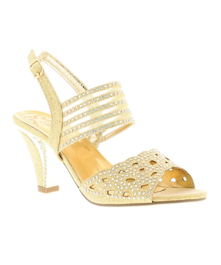Image for New Ladies/Womens Gold Open Toe Sparkly Fashion Shoes