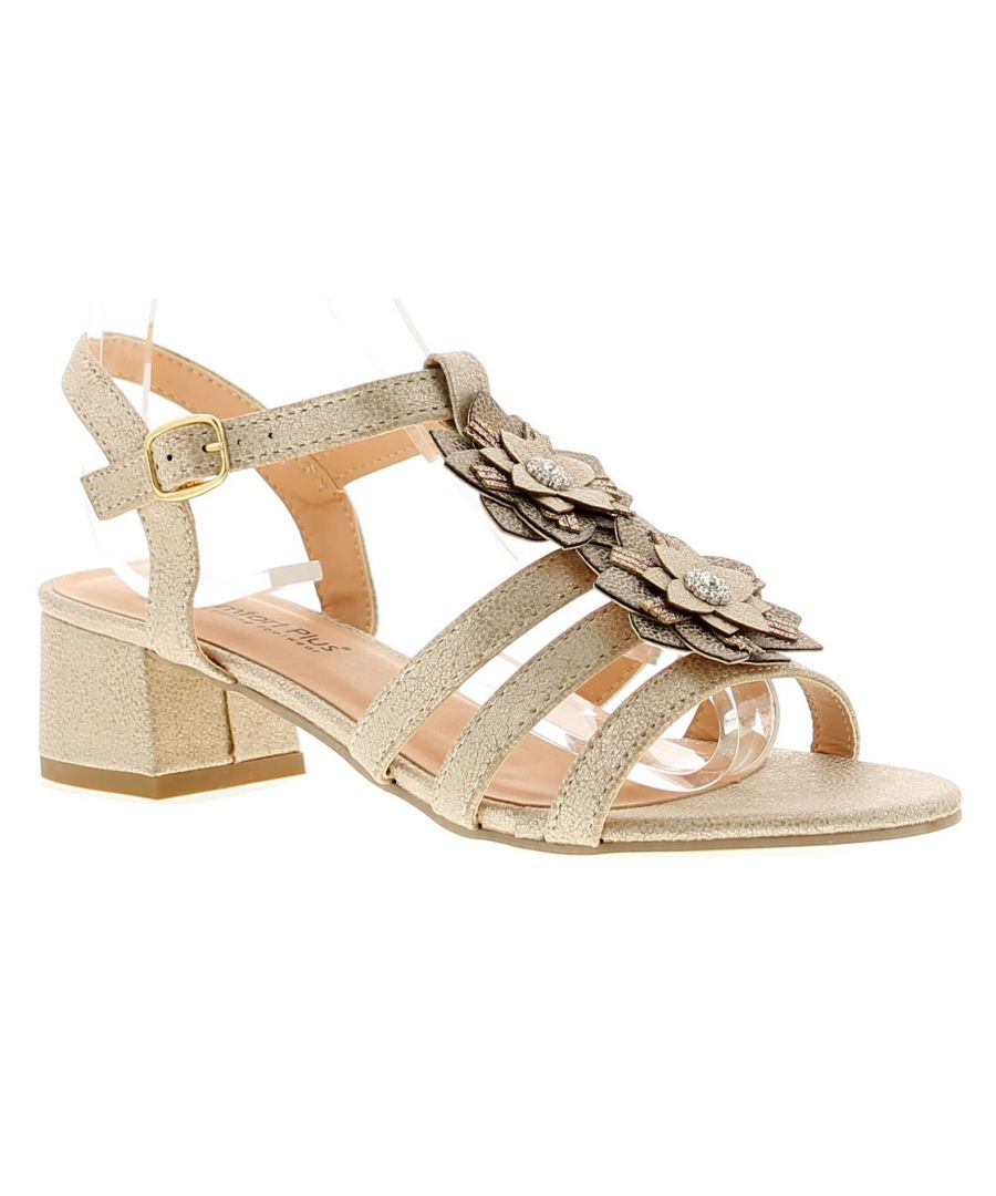 Image for Comfort Plus Cp Winnie Womens Ladies Heeled Sandals Gold