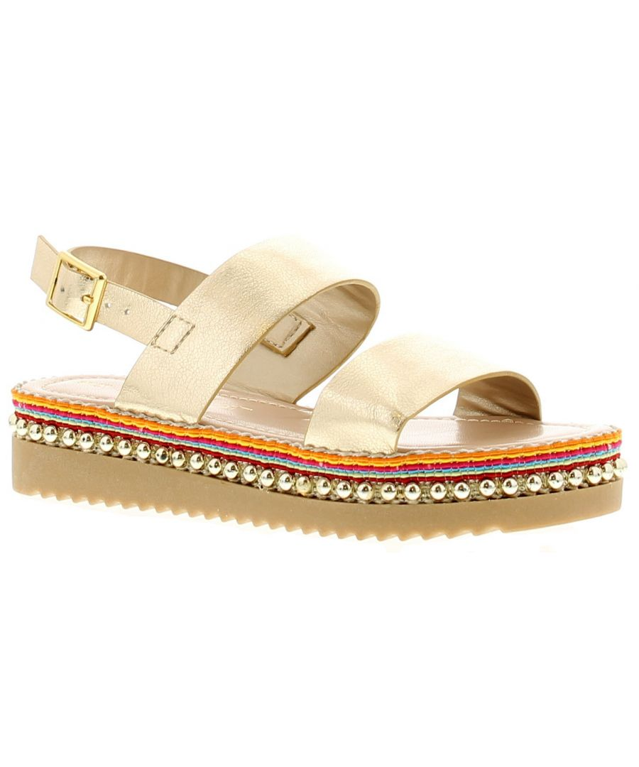Image for Miss Riot Sienna Girls Kids Summer Sandals Gold