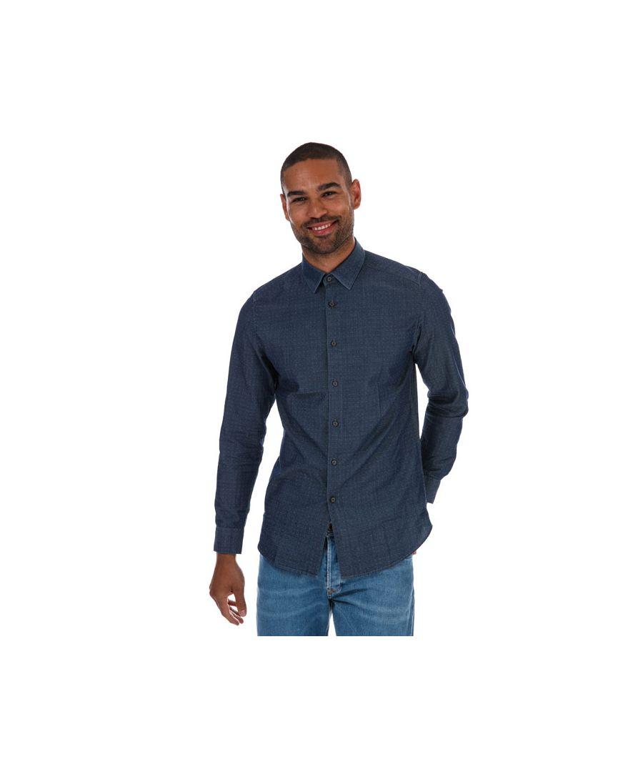 Image for Men's Ted Baker Beaan Dobby Shirt in Blue