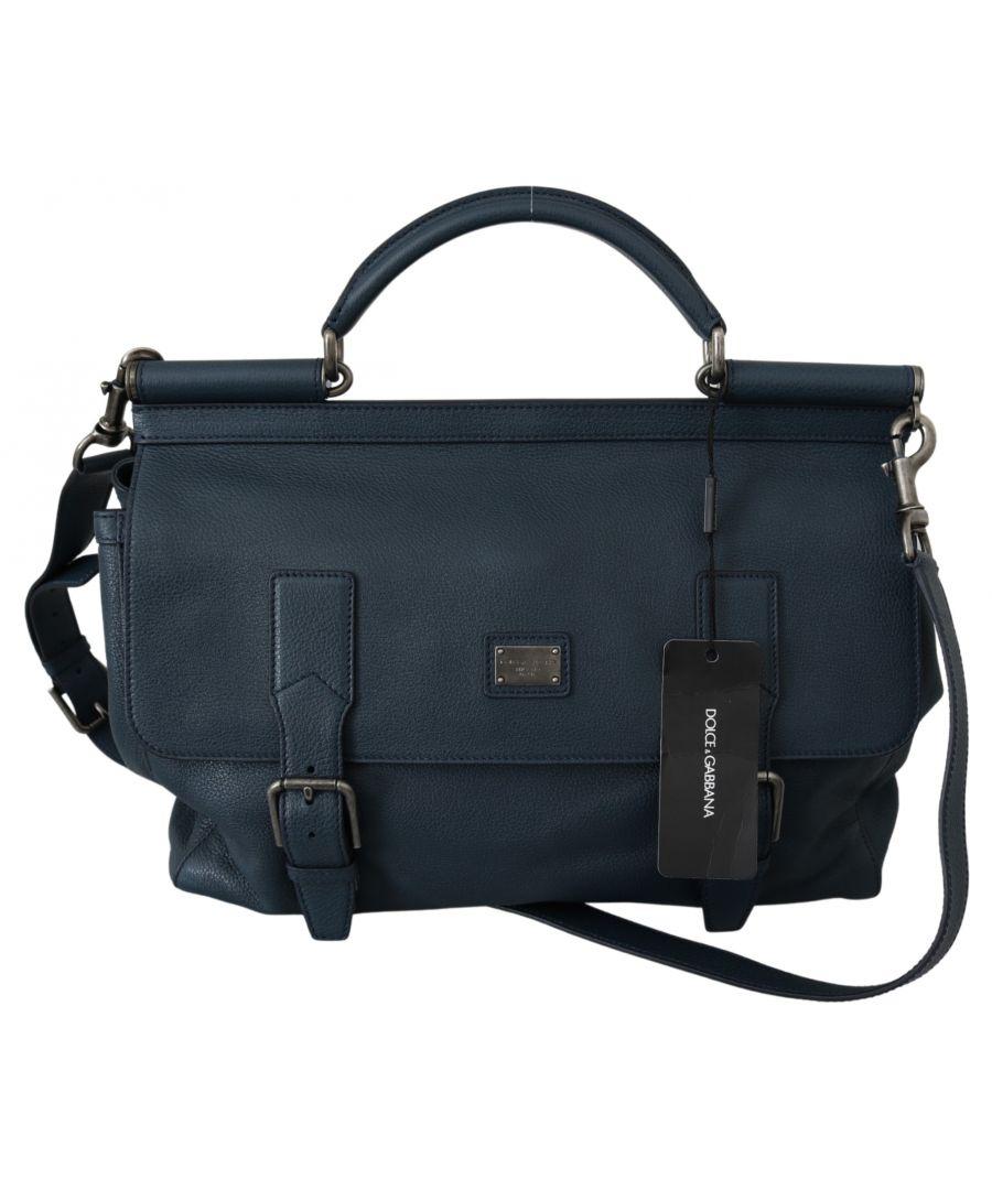 Image for Dolce & Gabbana Blue Mens Shoulder Strap Satchel Borse Travel Leather Bag