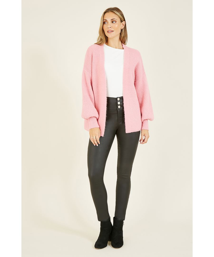 Image for Mela Pink Relaxed Knitted Cardigan