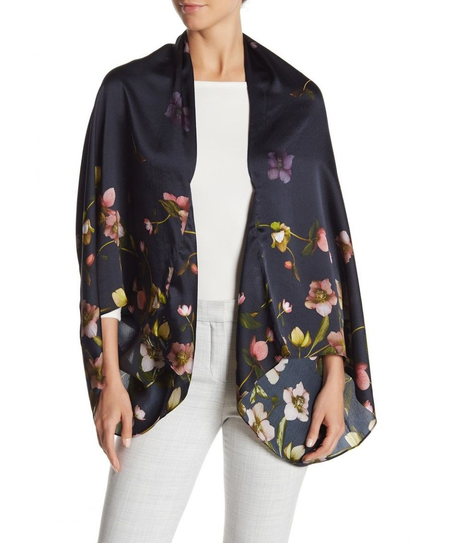 Image for Ted Baker Leoni Arboretum Silk Cape Scarf, Dark Blue