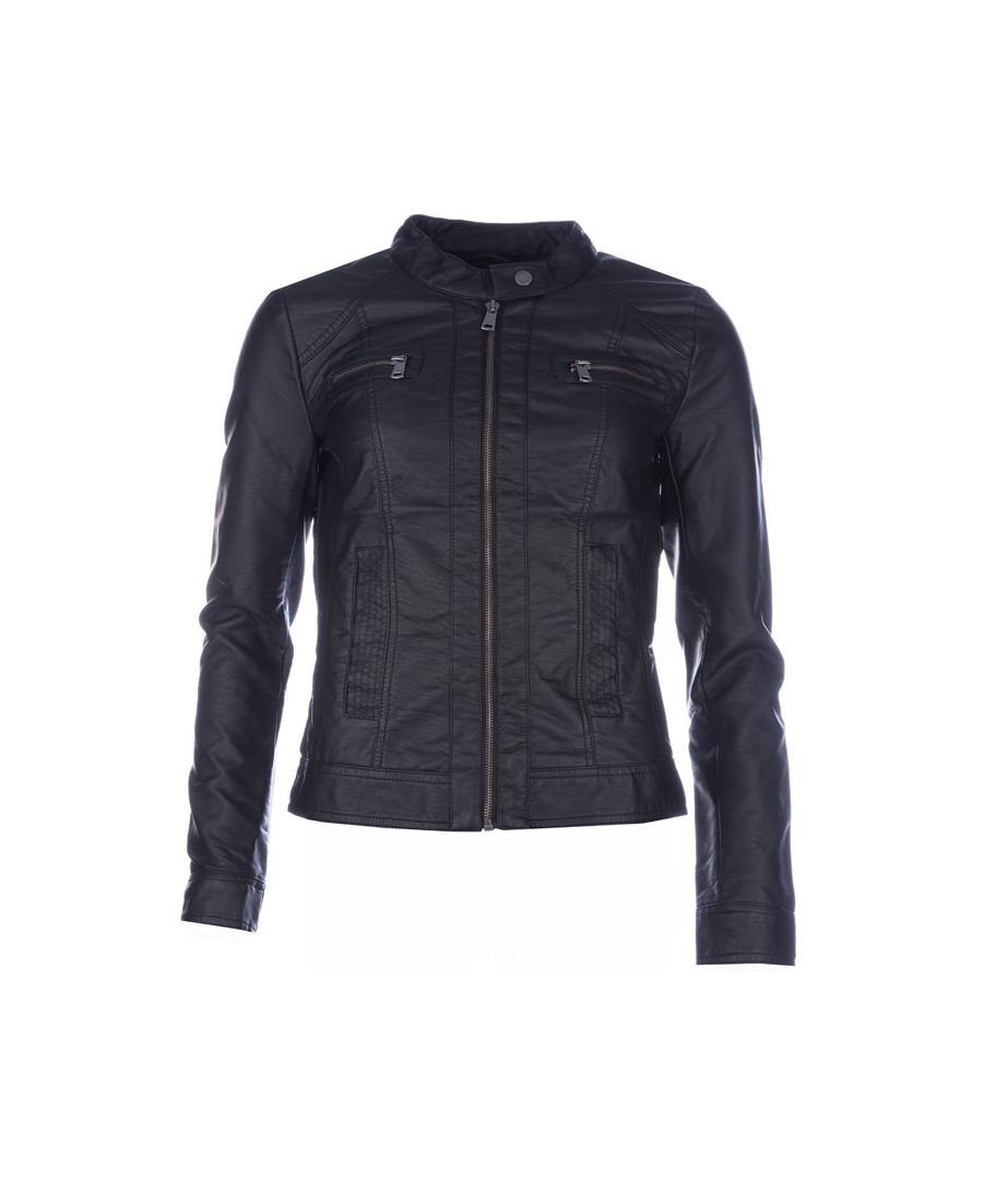 Image for Women's Only Bandit Faux Leather Biker Jacket in Black