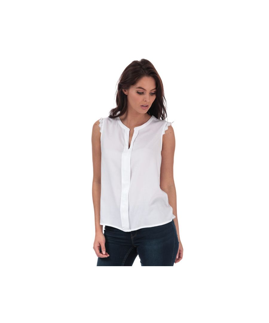 Image for Women's Only Kimmi Lace Trim Top in White