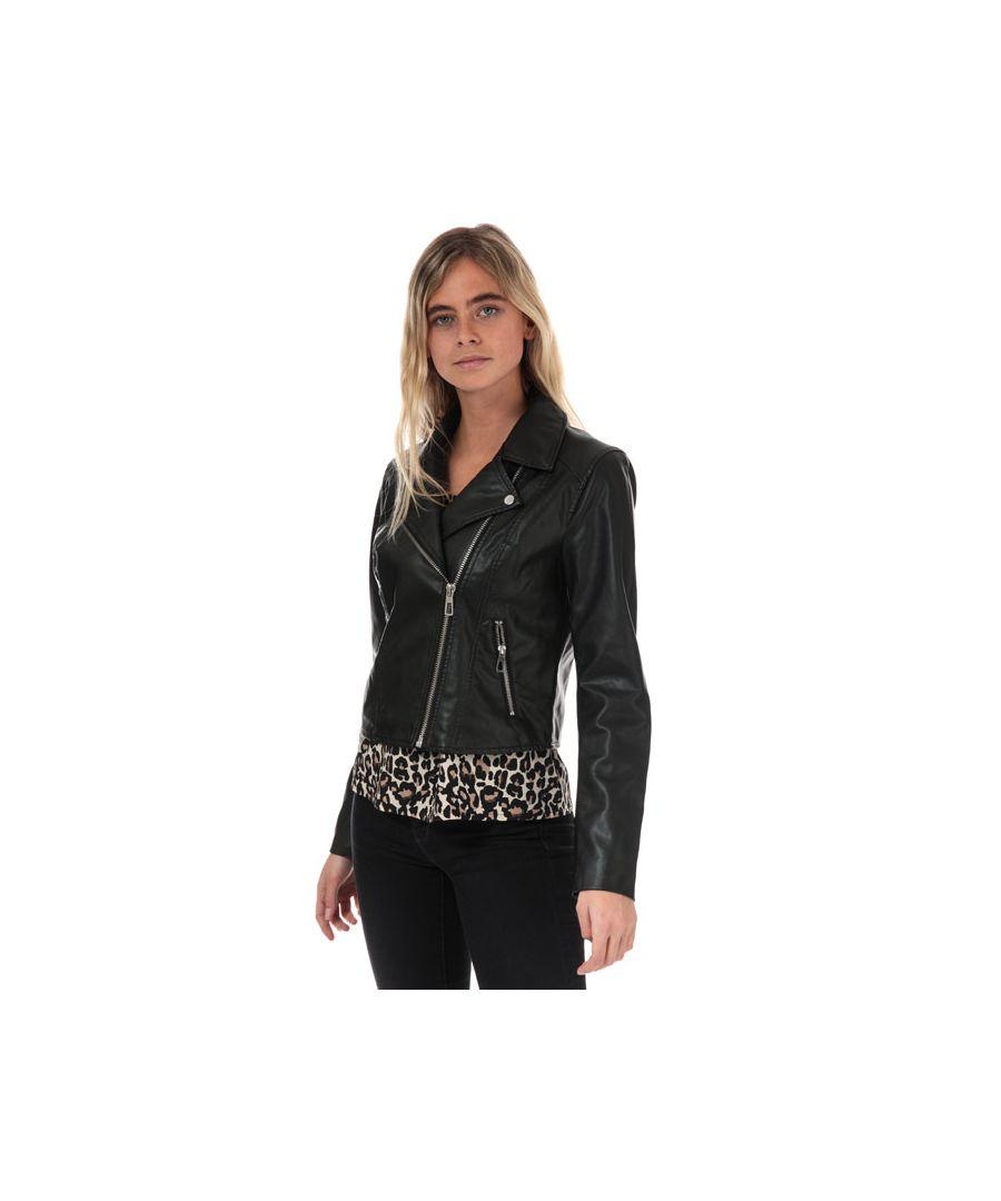 Image for Women's Jacqueline de Yong Esma Short Faux Leather Jacket in Black