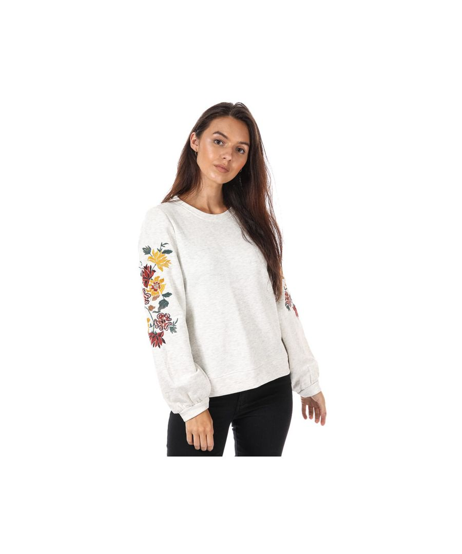 Image for Women's Only Anna Embroidered Crew Sweatshirt in Oatmeal
