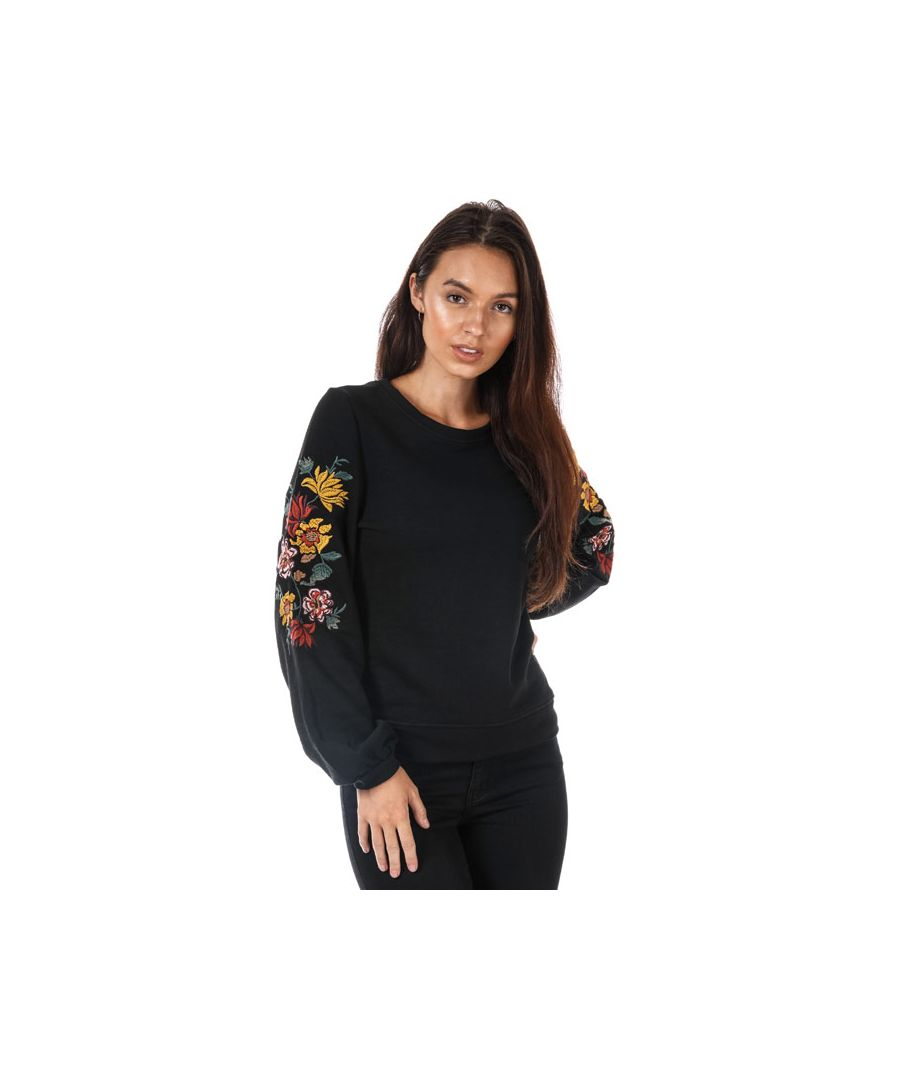 Image for Women's Only Anna Embroidered Crew Sweatshirt in Black