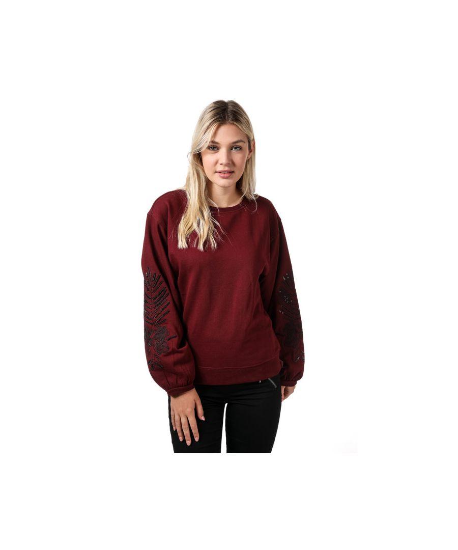 Image for Women's Only Nadia Balloon Sleeve Crew Sweatshirt in Chocolate