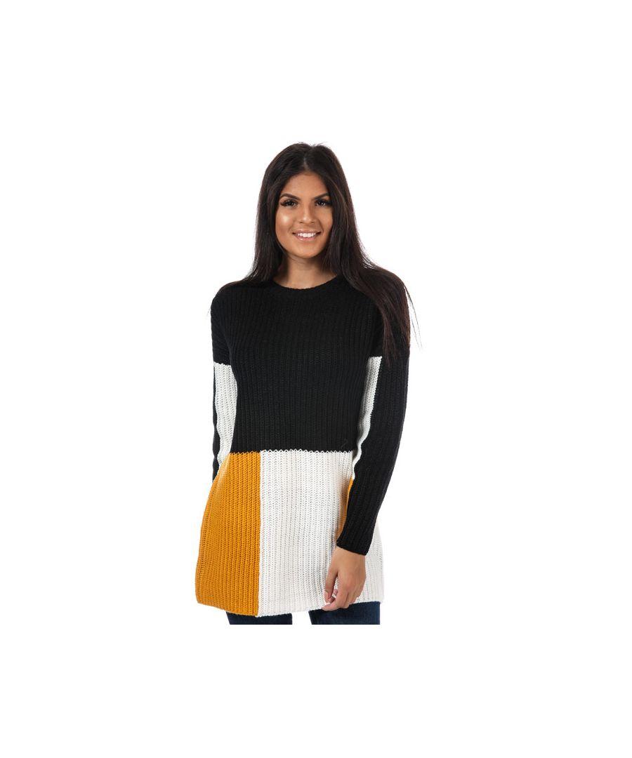 Image for Women's Only Blocky Colourblock Longline Jumper in Black