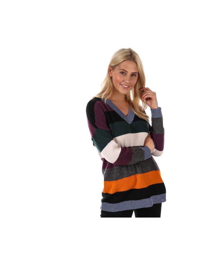 Image for Women's Only Rainbow V-Neck Jumper in Black