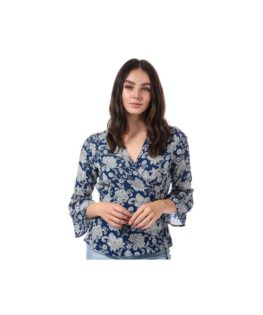 Image for Women's Only Nova Flounce Paisley Wrap Top in Blue