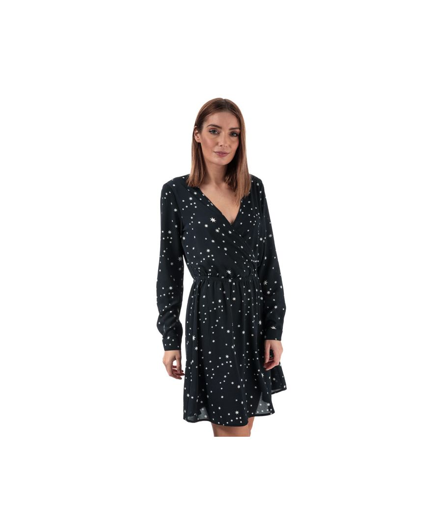 Image for Women's Only Nova Lux Star Print Wrap Dress in Navy