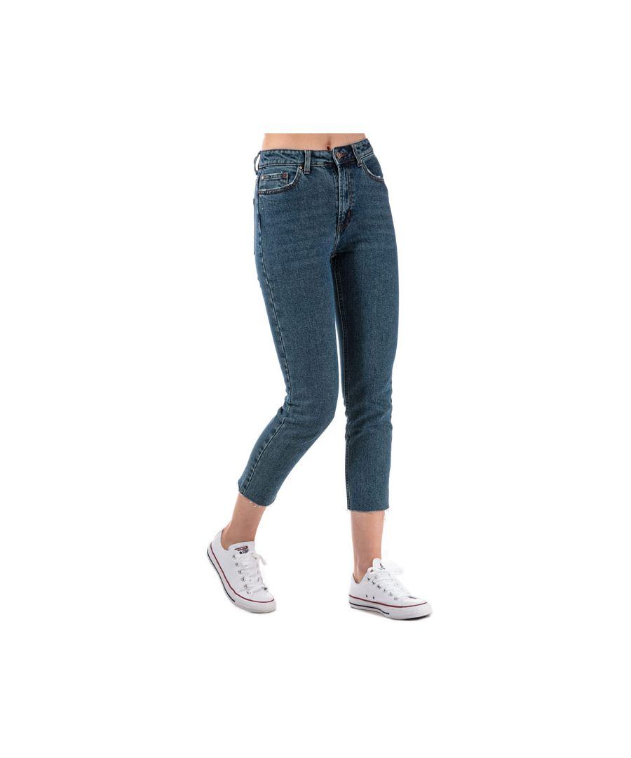 Image for Women's Only Emily High Waist Straight Raw Jeans in Dark Blue