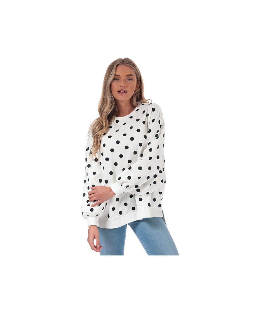 Image for Women's Only Chili Dot Crew Sweatshirt in White Black