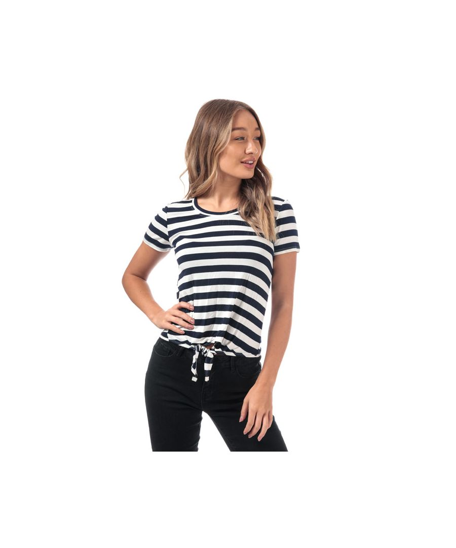 Image for Women's Only Arli Knot Striped T-Shirt in White Navy