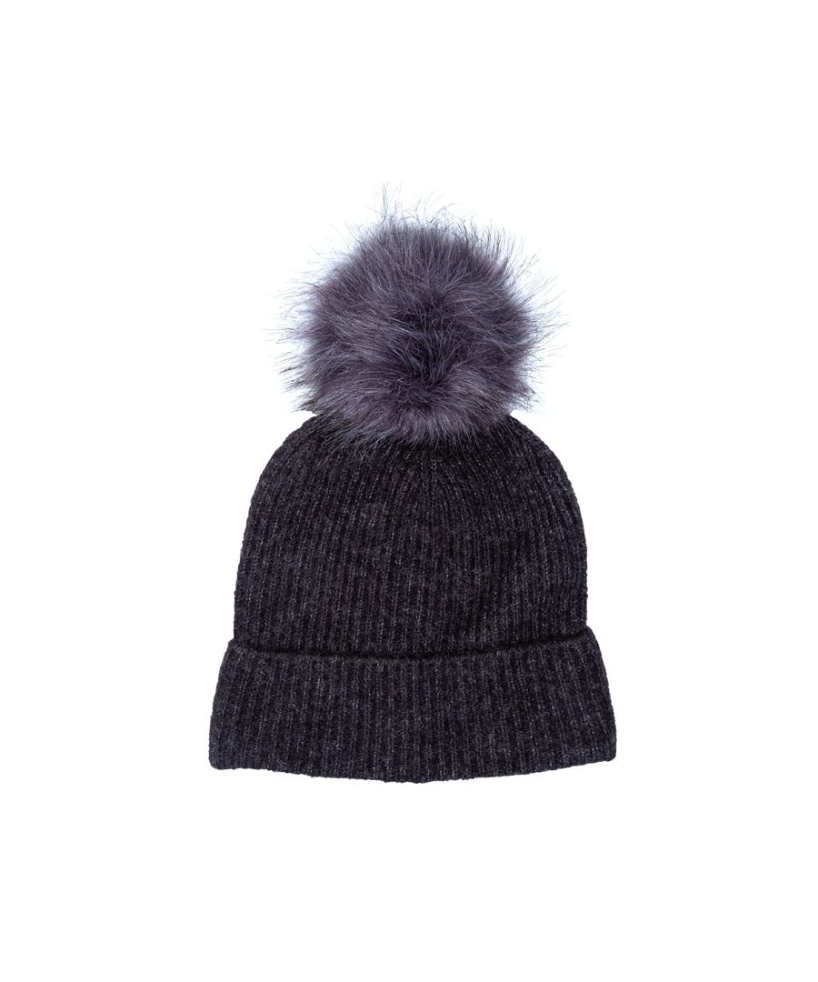 Image for Accessories Only Simma Pom Pom Beanie Hat in Charcoal Marl