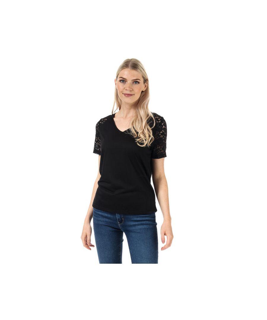 Image for Women's Jacqueline de Yong Stinne Lace V-Neck Top in Black