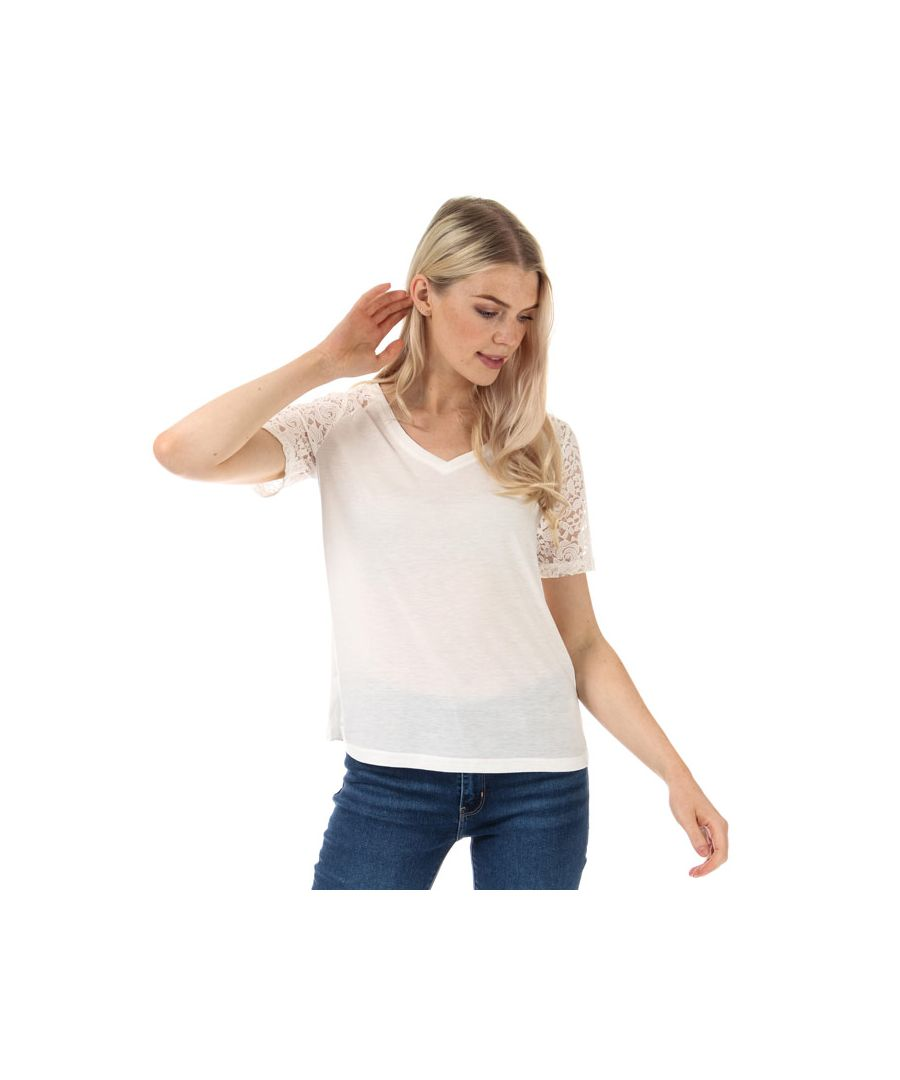 Image for Women's Jacqueline de Yong Stinne Lace V-Neck Top in White