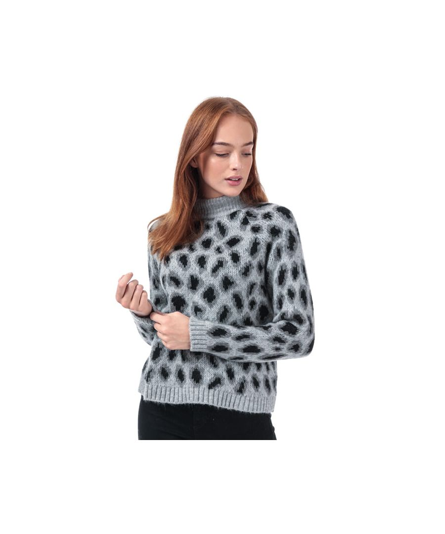 Image for Women's Only Jade Leopard Jumper in Grey Marl
