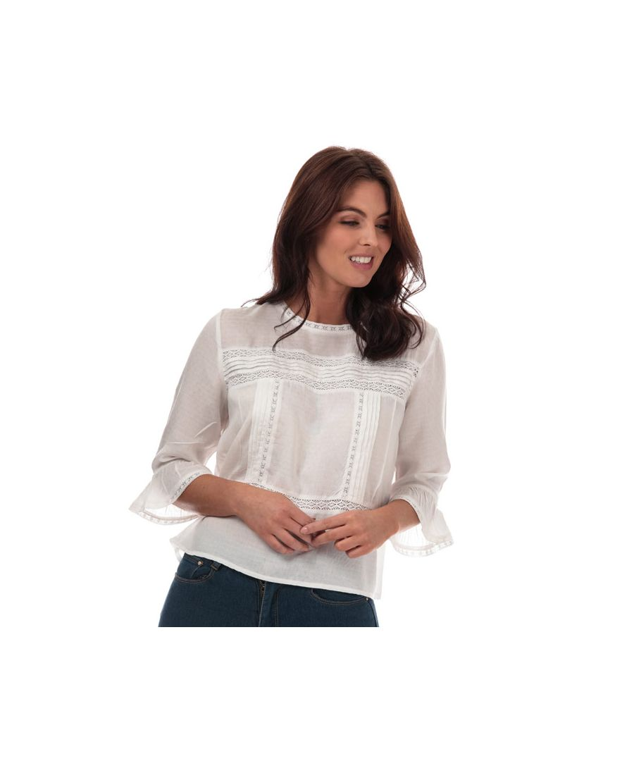 Image for Women's Only Anemone 3 Quarter Flare Sleeve Top in White