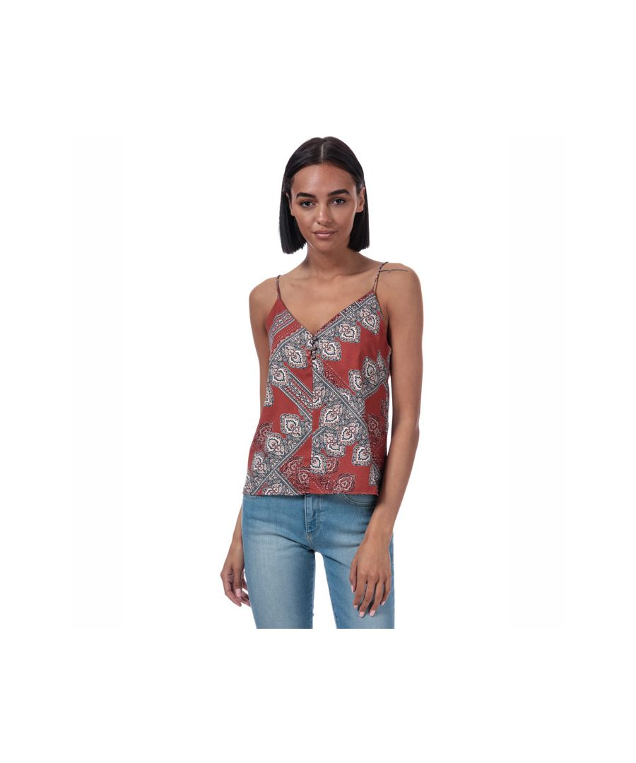 Image for Women's Only Diana Scarf Print Cami Top in Rust