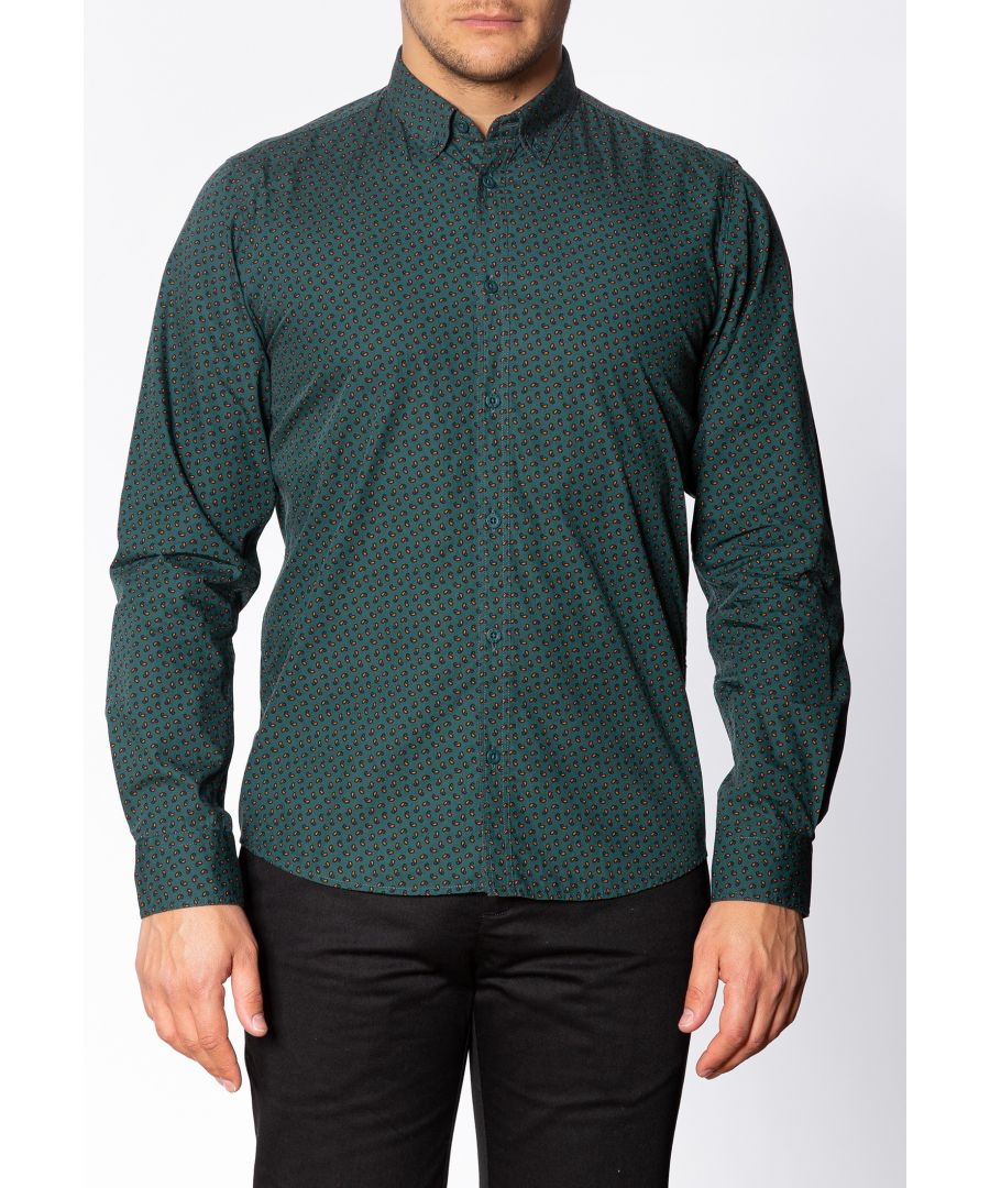 Image for Talbot Mens Long Sleeve Cotton Shirt With Small Paisley Print In Bottle Green