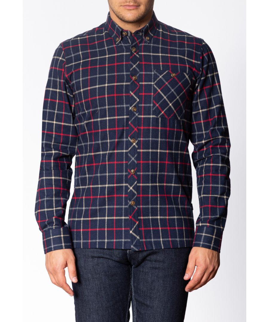 Image for Quarry Mens Long Sleeve Flannel Shirt With Large Check Pattern In Navy