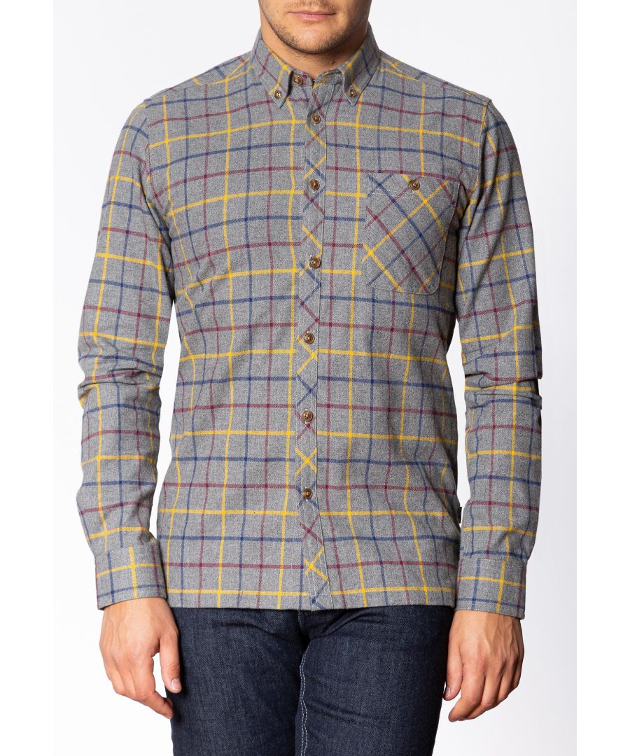 Image for Quarry Mens Long Sleeve Flannel Shirt With Large Check Pattern In Grey Marl