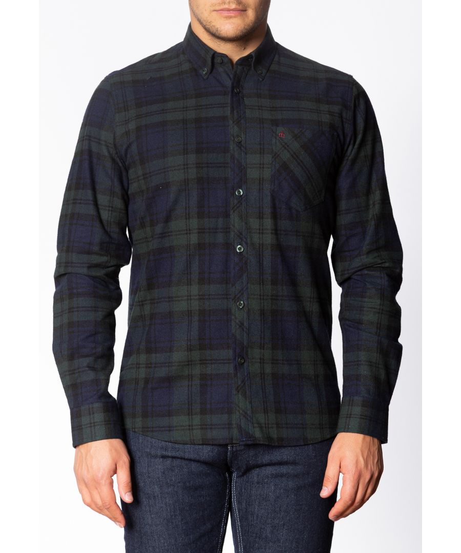 Image for Cyprus Mens Long Sleeve Flannel Shirt With Large Check Pattern In Bottle Green