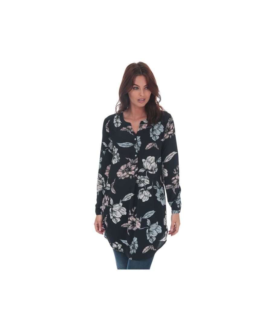 Image for Women's Only Nova Lux Flora Tunic Shirt in Navy